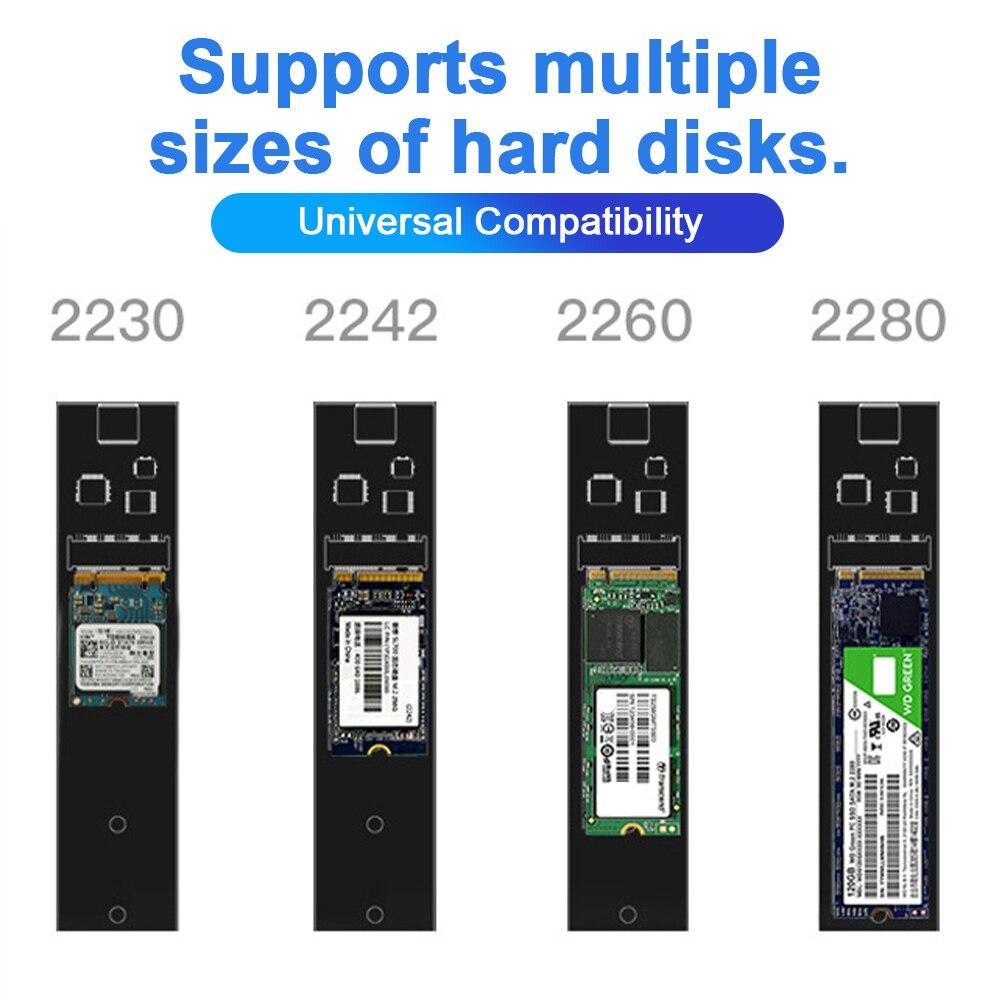 HY2051 M.2 SSD حافظة SATA/NVME صندوق قرص صلب ثنائي البروتوكولات مع مروحة 10Gbps USB3.1 Type-C ضميمة القرص الصلب 2230/2242/2260/2280