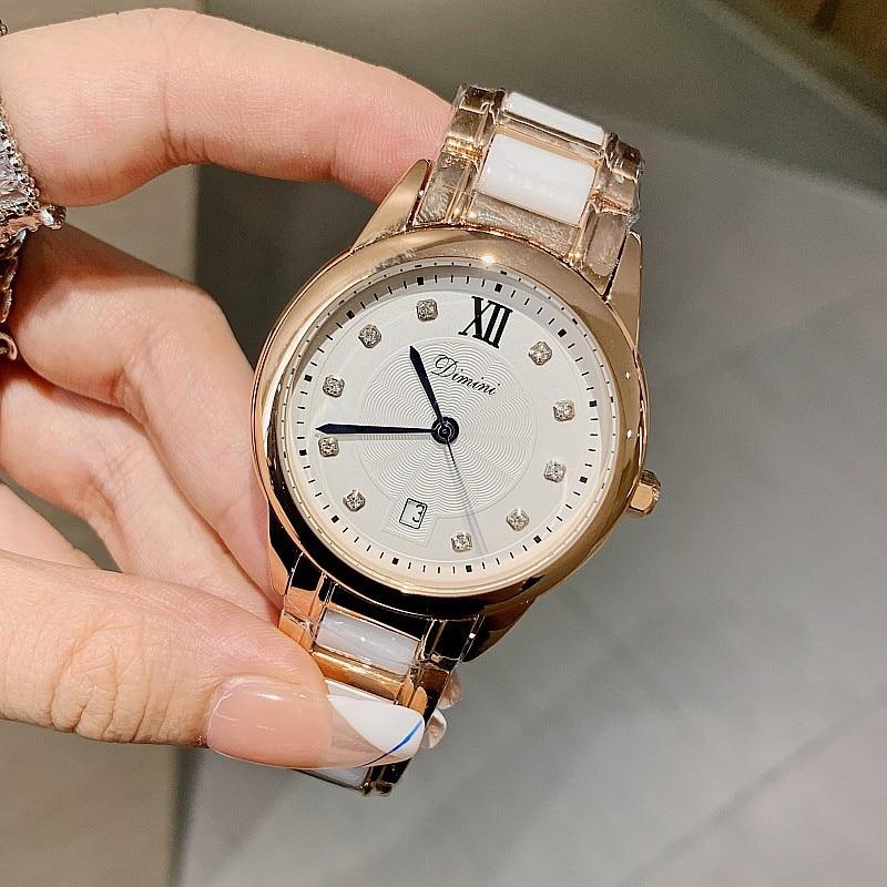 Relojes mujer New Women Rose Gold Ceramic Watches Bracelet Quartz Watch Ladies Watches Clock Female Fashion Women Wristwatch