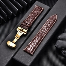 Crocodile Pattern Luxury Design Leather Watchbands with Automatic Buckle Men Watch Band 18mm 20mm 22mm 24mm Watch Straps
