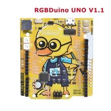 RGBDuino UNO V1.1 Geek Duck Development Board ATmega328P CH340C Micro USB Vs Arduino UNO For Raspberry Pi 3B Raspberry Pi 4B