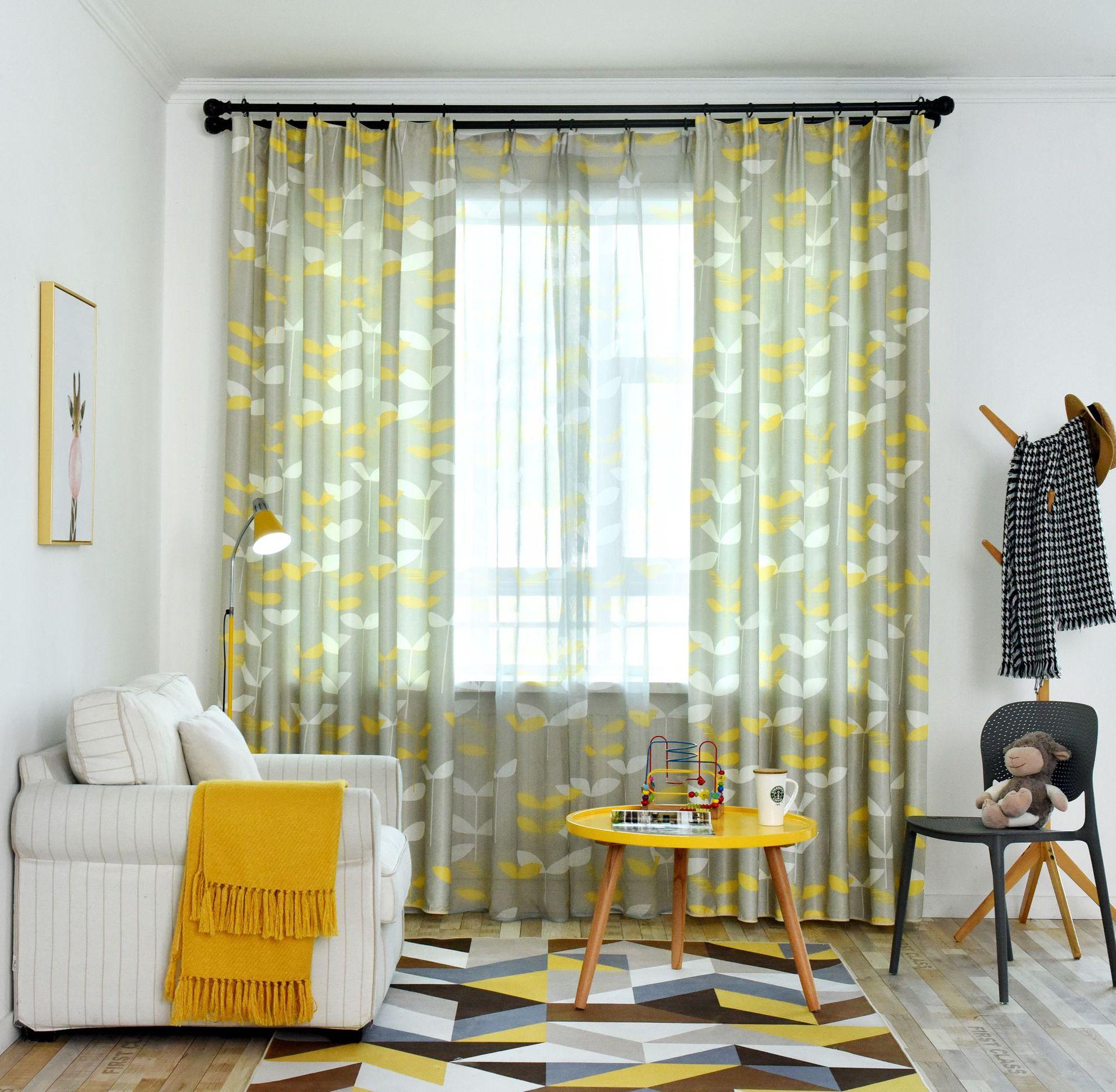 Scandinavian Large Leaf Curtains Finished Shade Cloth Modern Bedroom, Floating Window Living Room Floor Window Flat Window