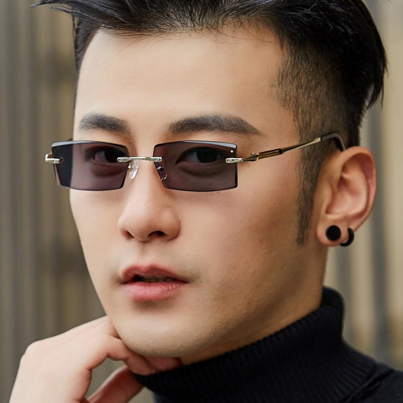 Zerosun Myopia Photochromic Sunglasses Men Rimless Chameleon Sun Glasses for Man Frameless Fashion Driving