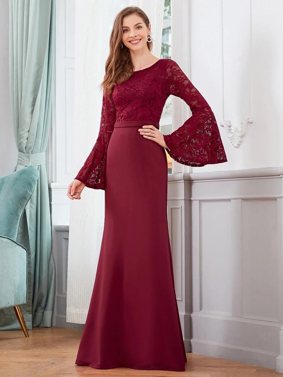 Elegant Round Neckline Lace Mermaid Wholesale Evening Dress