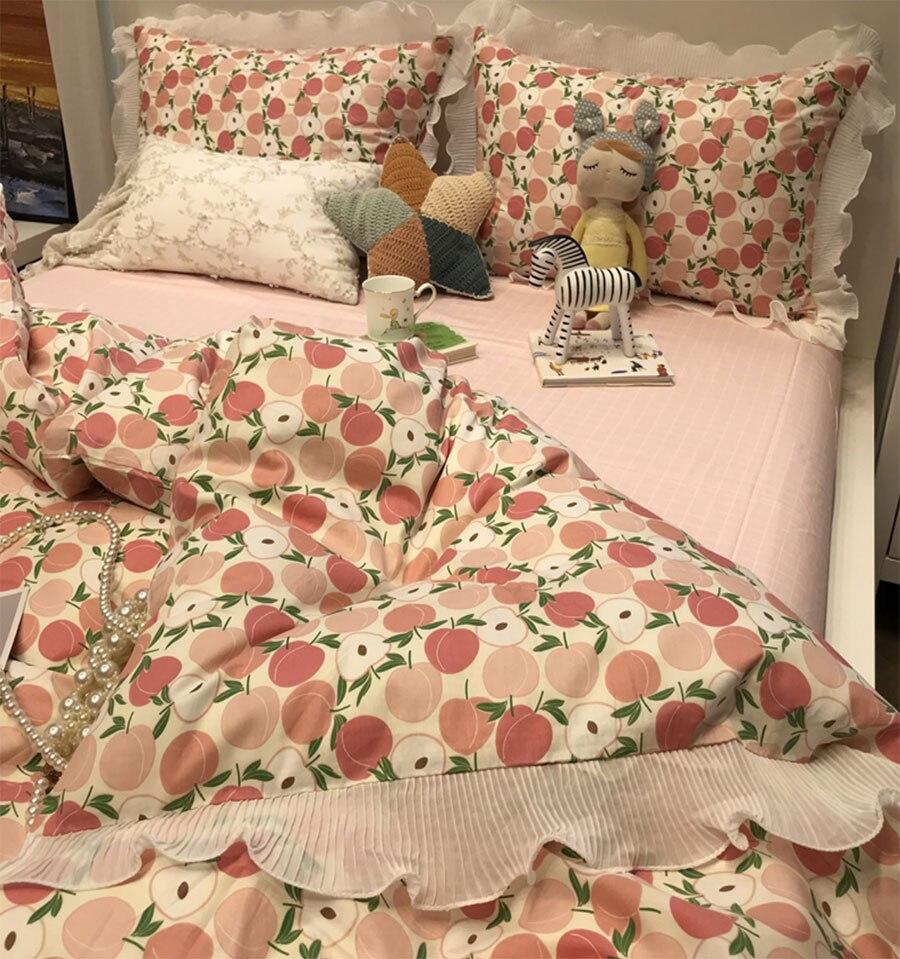 لطيف الحلو الوردي الفواكه طقم سرير ، جميل واحد مزدوج القطن التوأم كامل الملكة المنسوجات المنزلية غطاء سرير كيس وسادة غطاء لحاف