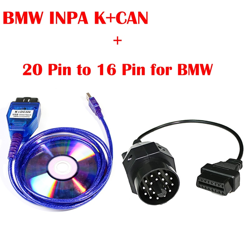 KWOKKER For BMW INPA K+CAN K CAN INPA With FT232RL Chip with Switch for BMW INPA K DCAN USB Interface With 20PIN Cable for BMW
