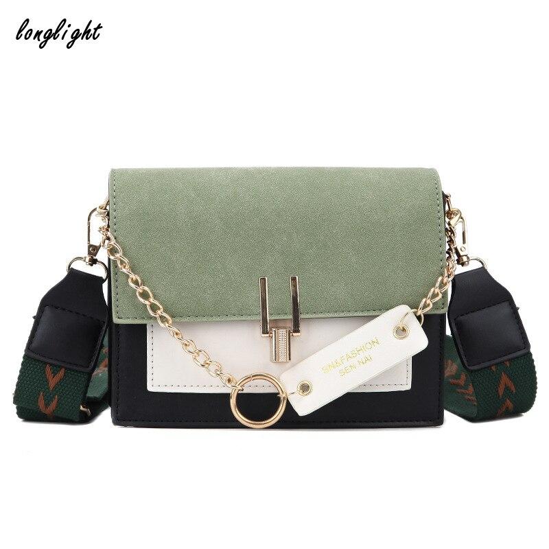 Longlight 2020 New Mini Handbags Women Fashion Ins Super Hot Retro Wide Shoulder Strap Messenger Bag PurseSimple StyleCrossbody