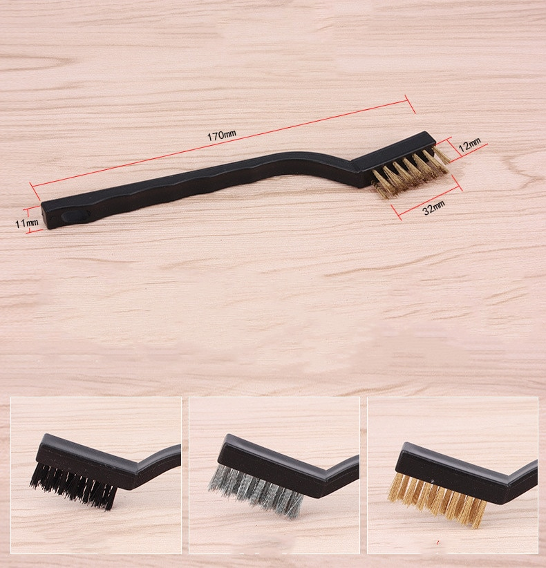 1pc Stainless Steel Copper Wire Brush Tooth Brushes Rust Scrub Remove Cleaning Tools 18cm enlarge