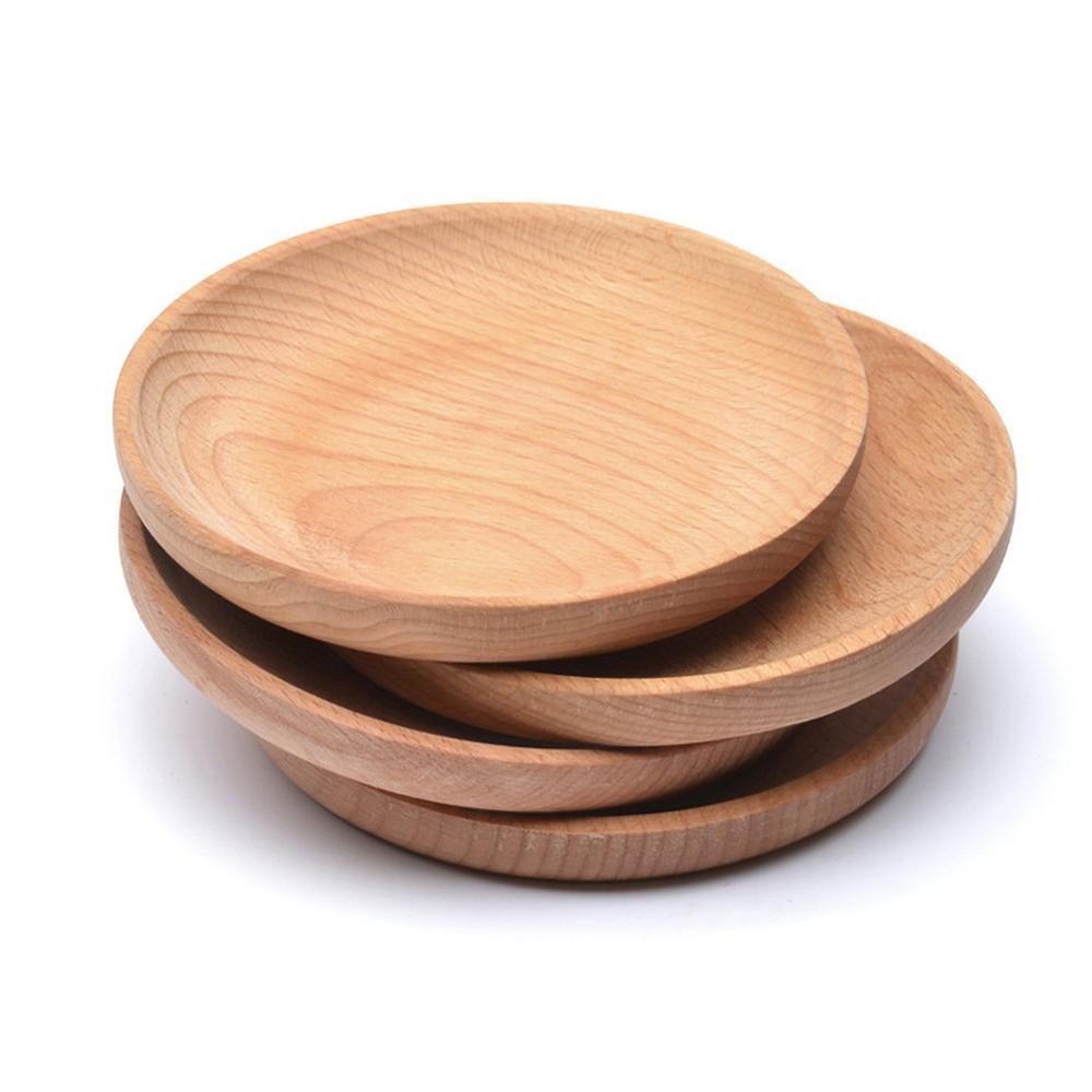 Assiette à gâteau rond en bois écologique, plateau de Service à Dessert maison/hôtel, planche à Sushi en bois, vaisselle de fête