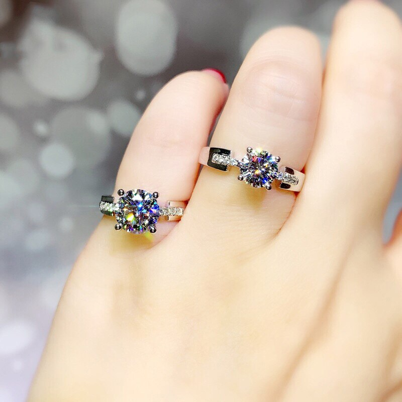 925 Sterling Silver Geometric Rings Inlay 8mm Moissanite Luxury Jewelry For Women Wedding Engagement Fine Eternity Ring