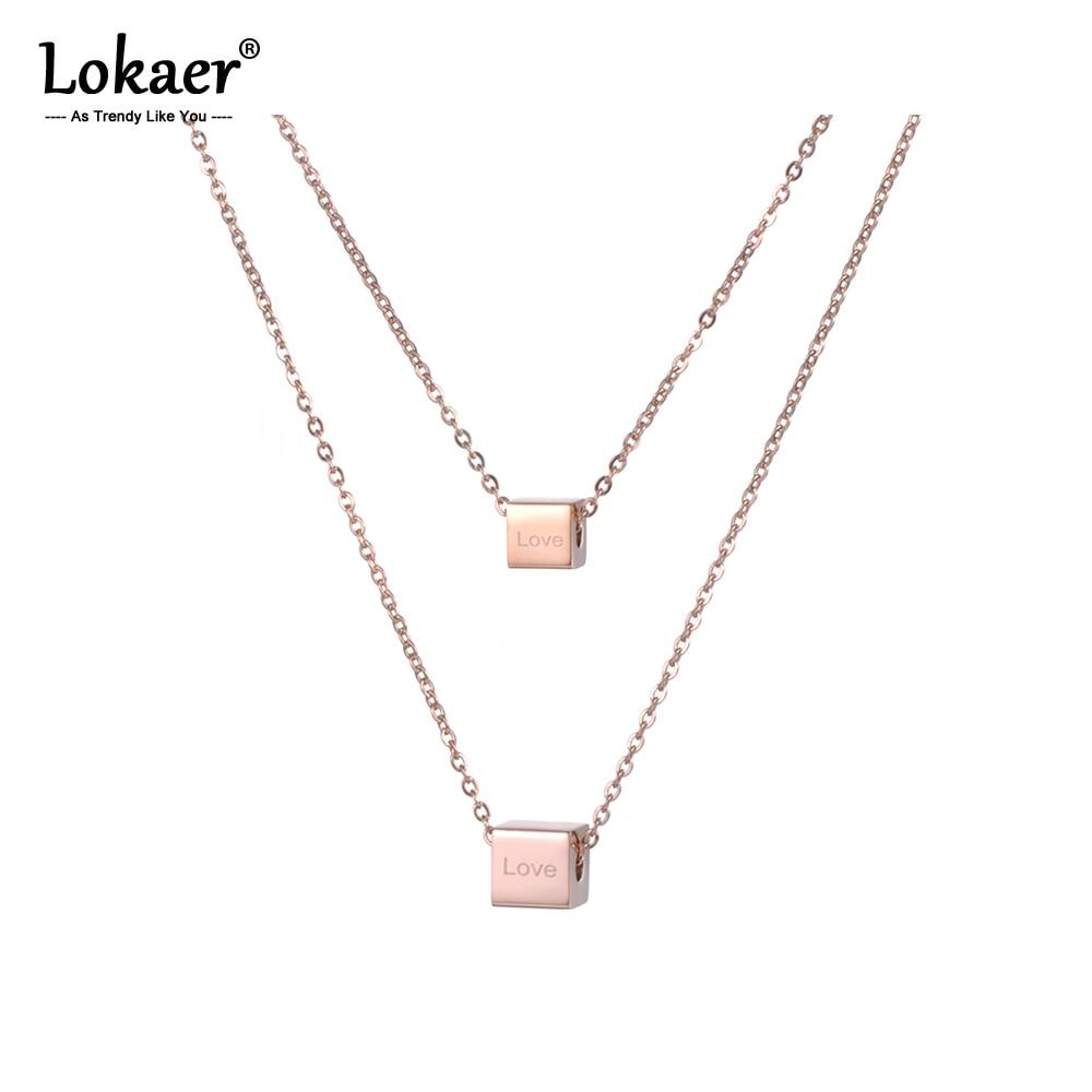 Locaer-2 couches en acier inoxydable, collier couleur or Rose, lettres damour carrées, saint-valentin, cadeau N18276