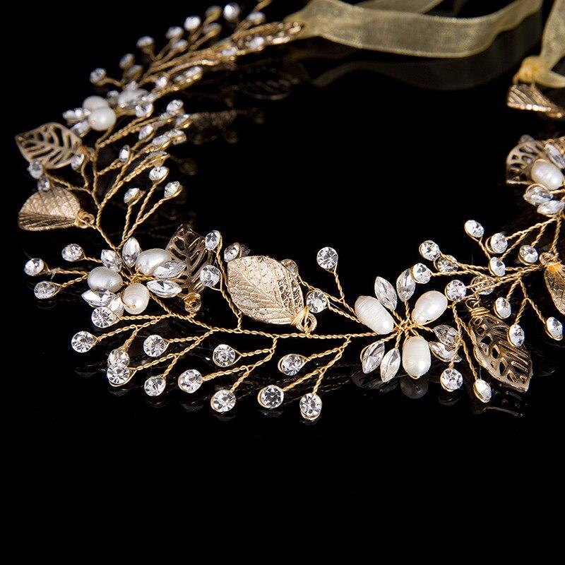 Golden crystal forehead headband bridal accessories