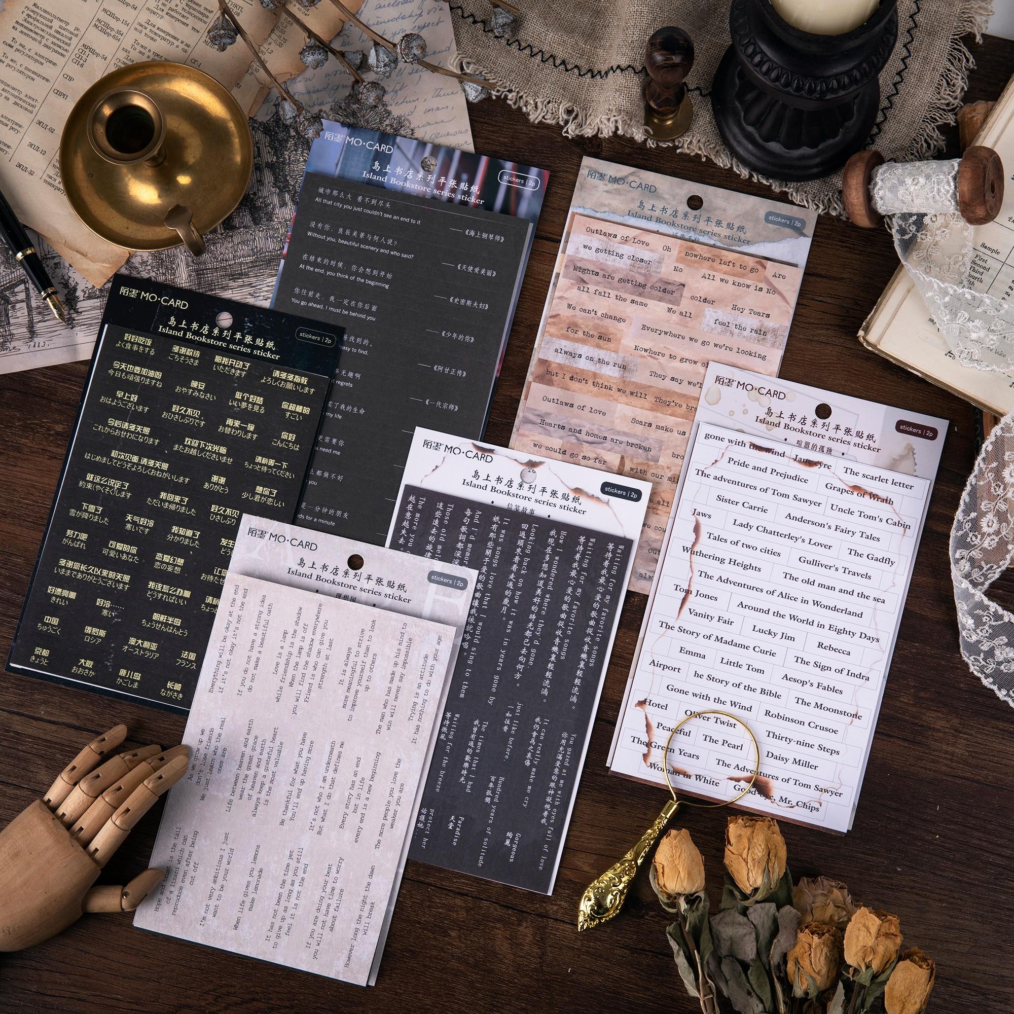 Mohamm 2 Sheets/lot Flat Sticker Word Island Bookstore Creative Decorative Stickers Stationery