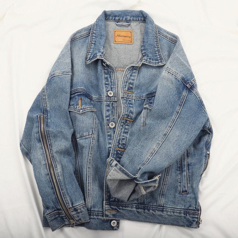 Spring Autumn Vintage Wash Blue Zipper Splice Long Sleeve Denim Jacket Women Loose Basic Jeans Coat