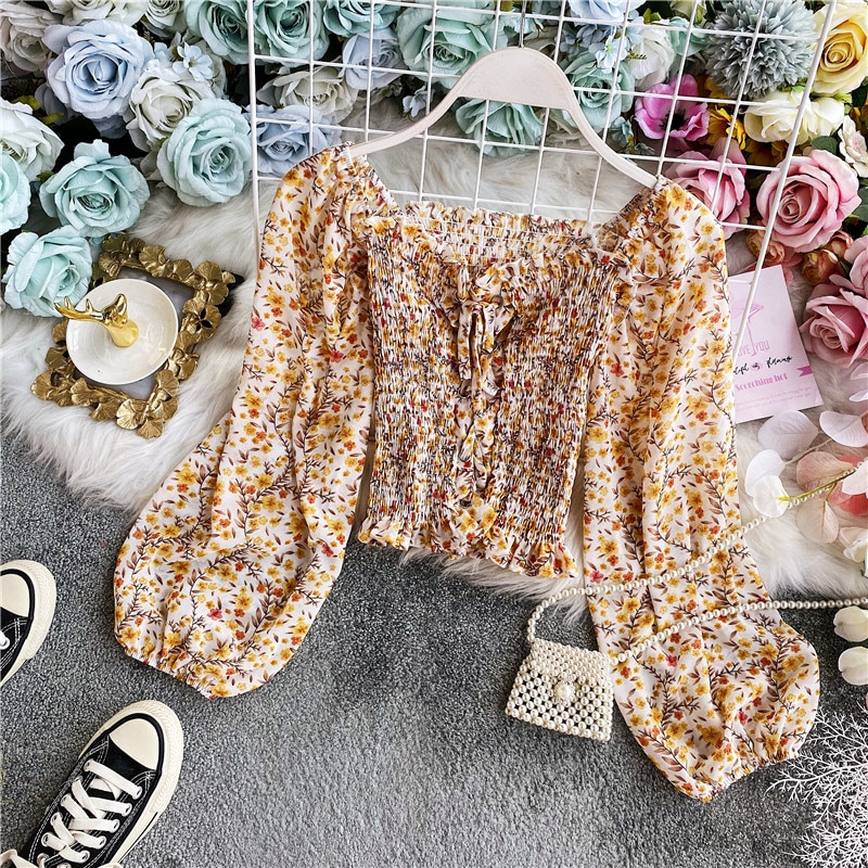 2020 summer new female chic flower square colloar puff sleeve ruffles lace-up chiffon shirts womens elegant blouses fairy shirt