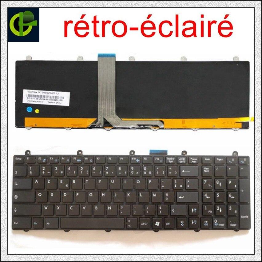 Francés retroiluminado teclado Azerty para MSI MS-1755 MS-1756 MS-175A MS-1758 MS-1759 MS-1762 MS-1763 MS-1764 MS-16F4 MS-1761 FR