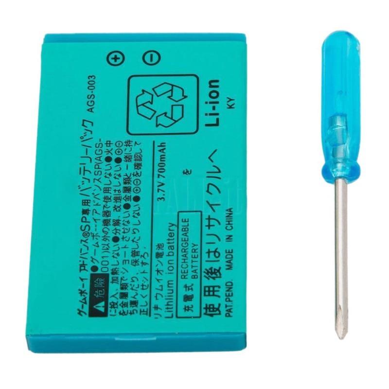 Batería recargable de iones de litio de 850mAh + Kit de herramientas para Nintendo GBA SP nuevo