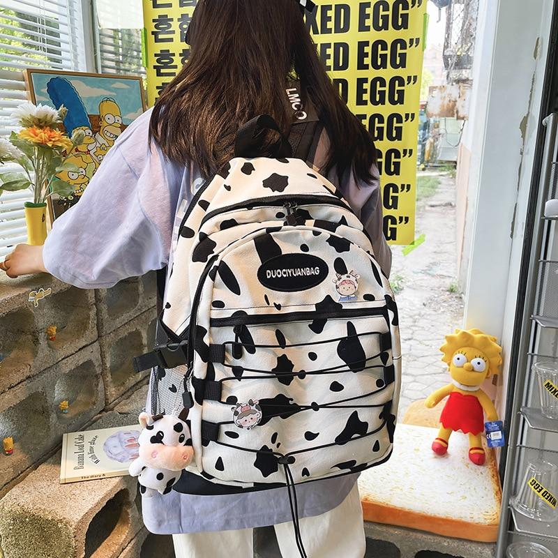 Женский тканевый рюкзак с принтом «Зебра», с коровьим узором