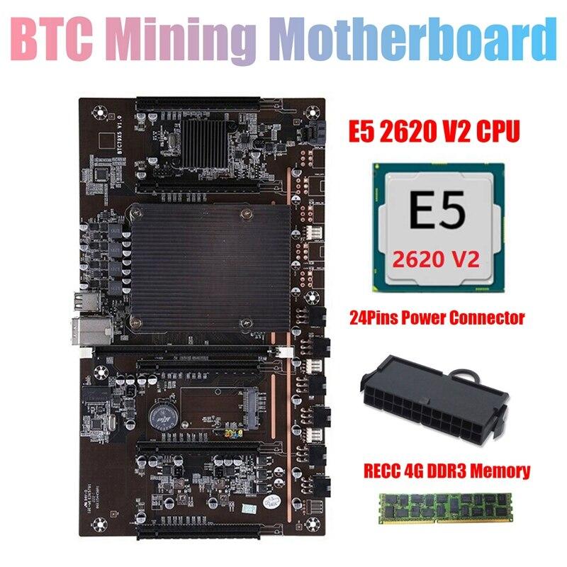 H61 X79 BTC مينر اللوحة مع E5 2620 V2 CPU + RECC 4G DDR3 Ram + 24Pins موصل دعم 3060 3070 3080 وحدة معالجة الرسومات