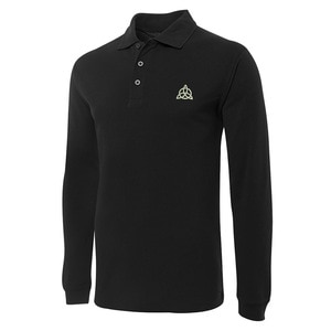 Holy Trinity Celtic Knot Embroidery Long Sleeve Polo Shirts Embroidered Men's Shirts