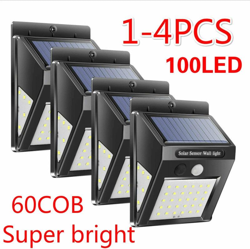 1-4pcs 30/100 LED Solar Power Lamp Saving Street Garden Yard Security PIR Motion Sensor Wall Light Outdoor Waterproof EnergyLamp
