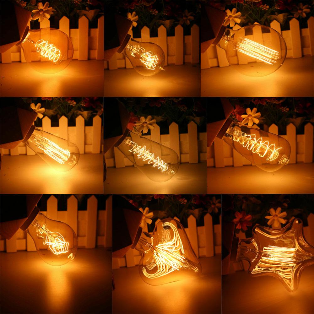 Светодиодсветодиодный винтажная лампа Эдисона E27 40 Вт A60 ST64 G80 G95, светильник ПА накаливания с теплым белым светом, стеклянная лампа для домаш...