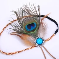 boho feather headdress for woman indian hand woven festival hair accessories peacock feather turban ladies adjust hair bands