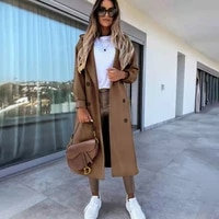 casual solid long coat for women autumn long sleeve button turn down jackets windbreaker ladies outwear slim office fall clothes