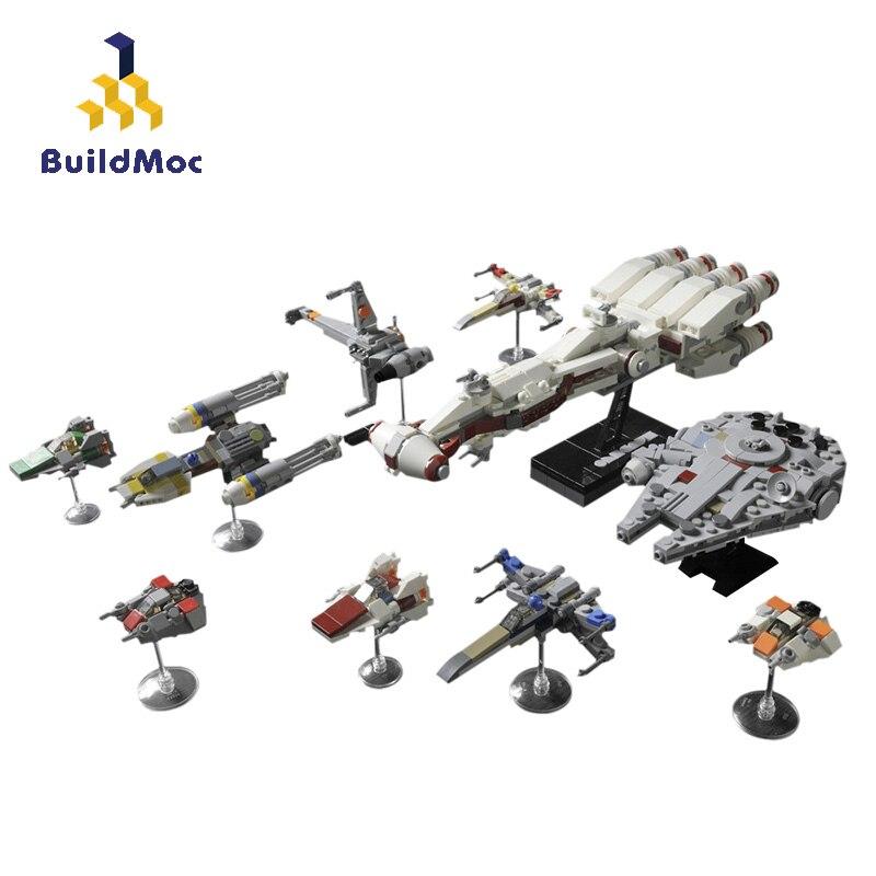 Buildmoc الفضاء الحروب الفيلم تمرد Starfighters X-Y الجناح التعادل مقاتلة Snowspeeder الألفية سفينة الفضاء اللبنات اللعب
