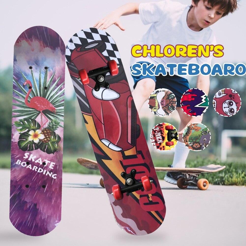 60 см четырехколесный скейтборд для начинающих и детей деревянные скутеры двухэтажные скейтборд с граффити дорожная Щетка