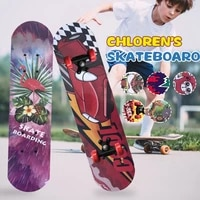 60cm four wheeled skateboard for beginners and kids wood scooters double deck skating board graffiti skateboard road brush