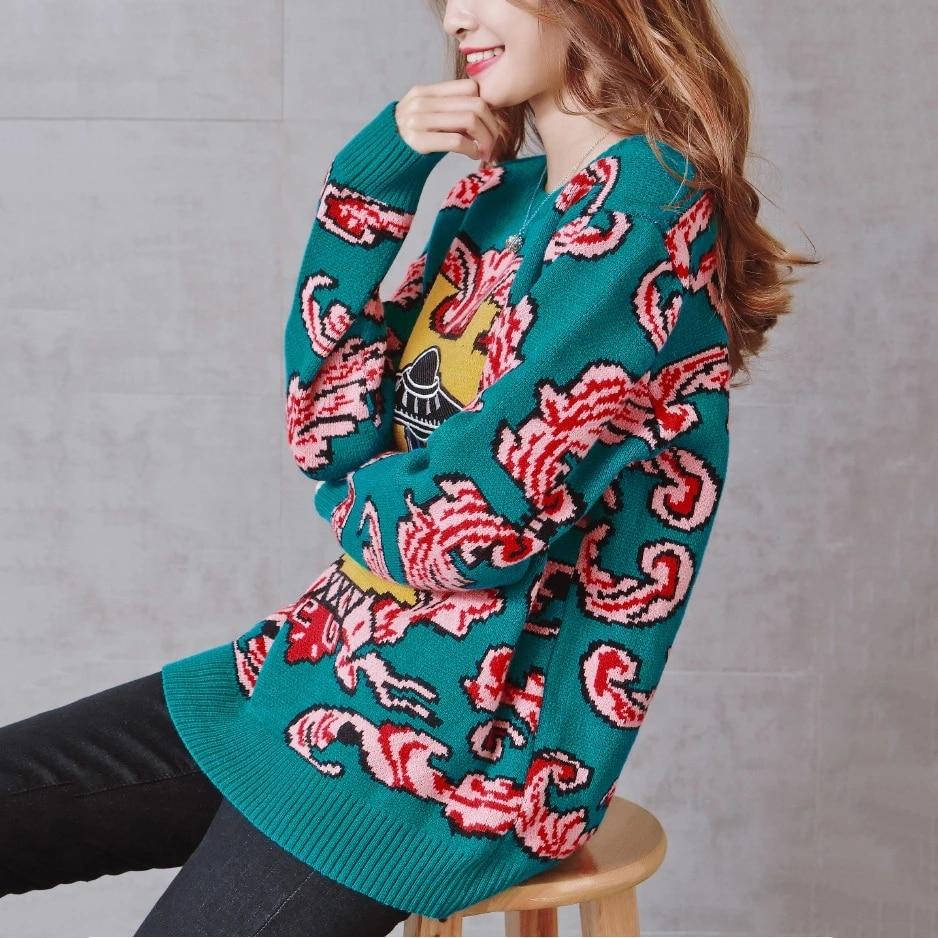 Oversized Sweater Autumn Winter Women Knitted Sweaters UFO Clouds Jacquard Pullovers Loose Warm Thicken Knit Tops Jersey Mujer enlarge