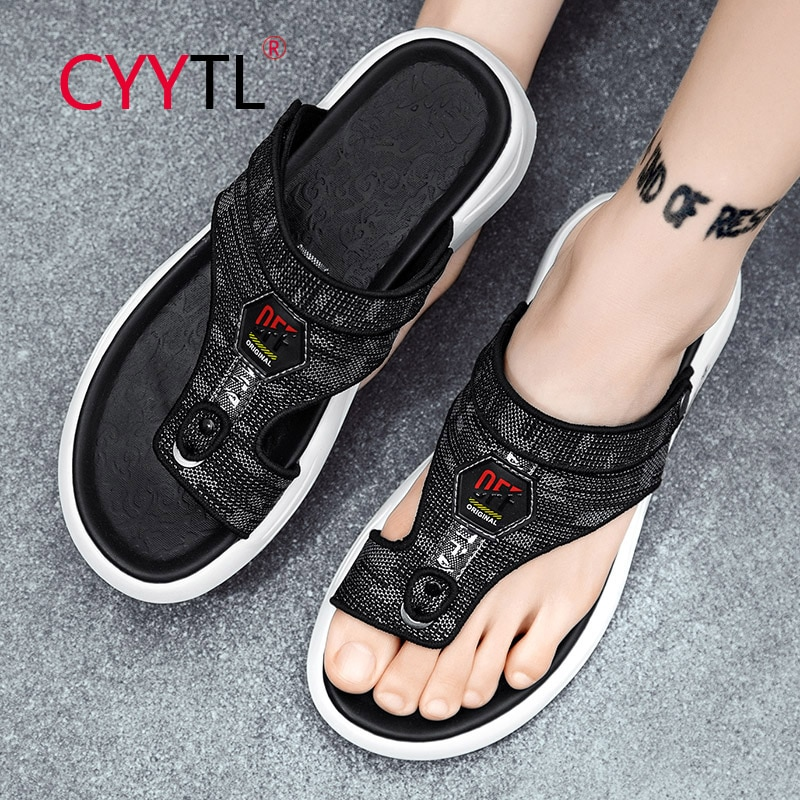 CYYTL Men's Leather Sandals Summer Fashion Luxury Flip Flops Casual Slippers Flat Beach Shoes for Adult Male Indoor Outdoor