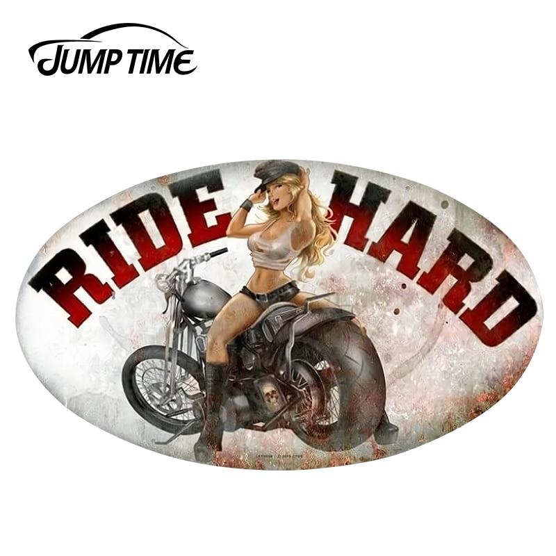 Jumptime 13cm x 7.7cm sexy beleza jdm retro passeio duro oval pin-up menina adesivo de carro vinil pára-choques do carro windwos decalques à prova dwaterproof água
