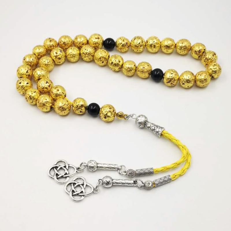 Man's Tasbih Natural lava stone Gold plating 2019 style misbaha natural stone rosary Muslim 33 66 99 prayer beads
