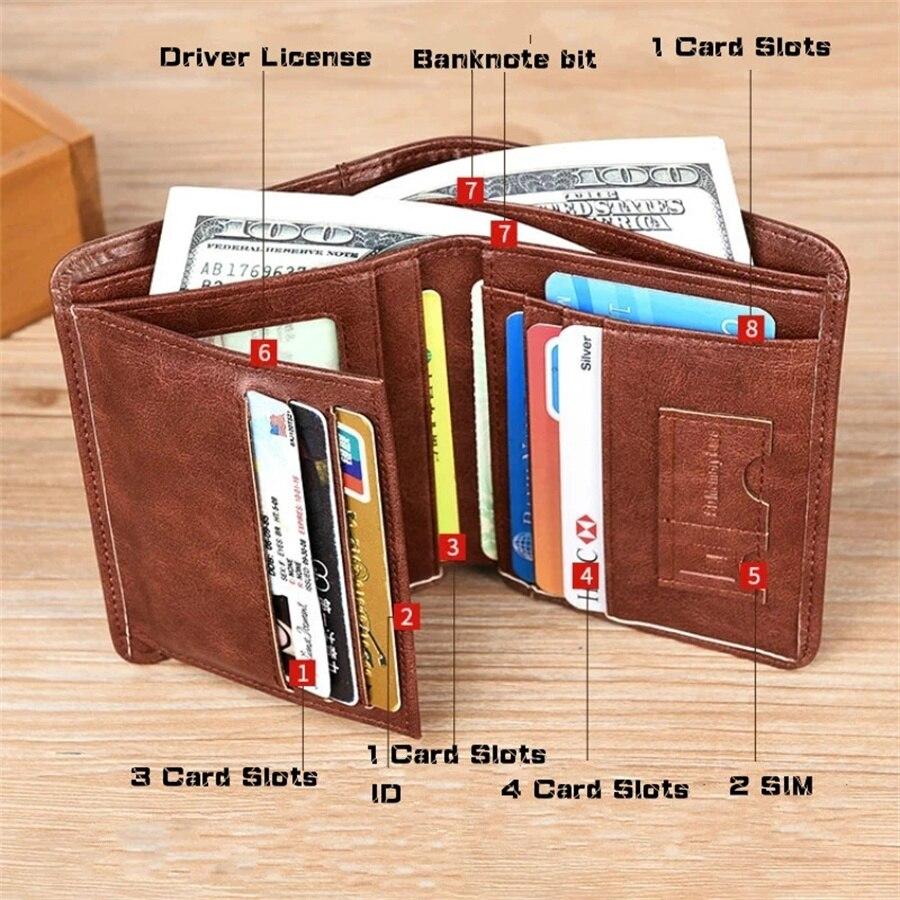 Брендовые новые мужские кошельки из натуральной кожи, мужской кошелек, держатели для кредитных карт, винтажный коричневый кожаный кошелек, ...