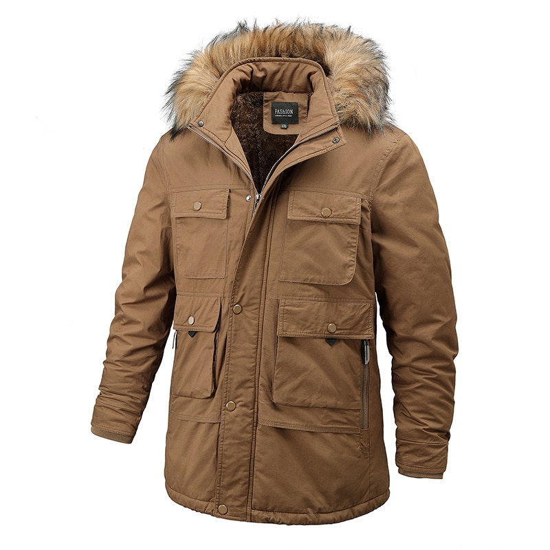 Куртка мужская зимняя с меховым воротником, утепленная Повседневная хлопковая парка с капюшоном, длинная ветрозащитная парка с бархатным у...