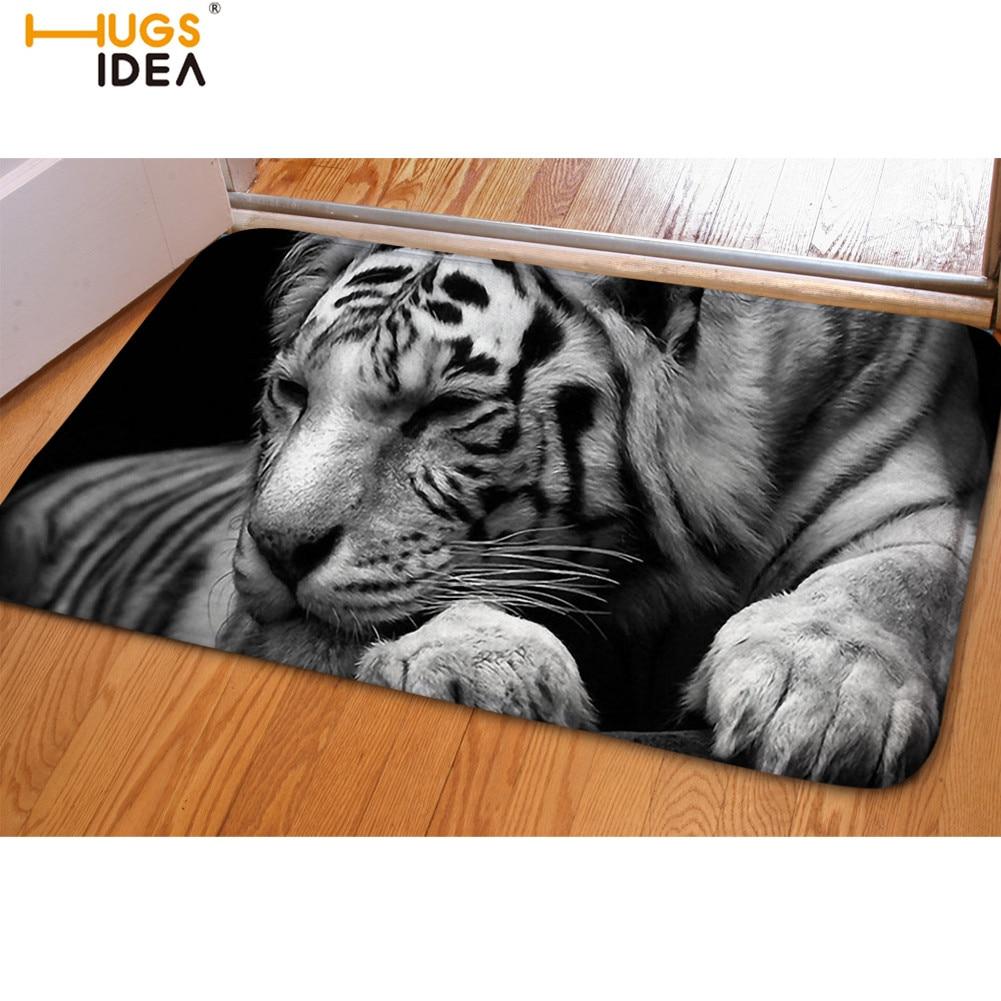 HUGSIDEA 3D White Tiger Print Carpets Animal Design Bedroom Floor Mats Fur Living Room Mats Home/Kitchen Decor Entrance Mat Rugs