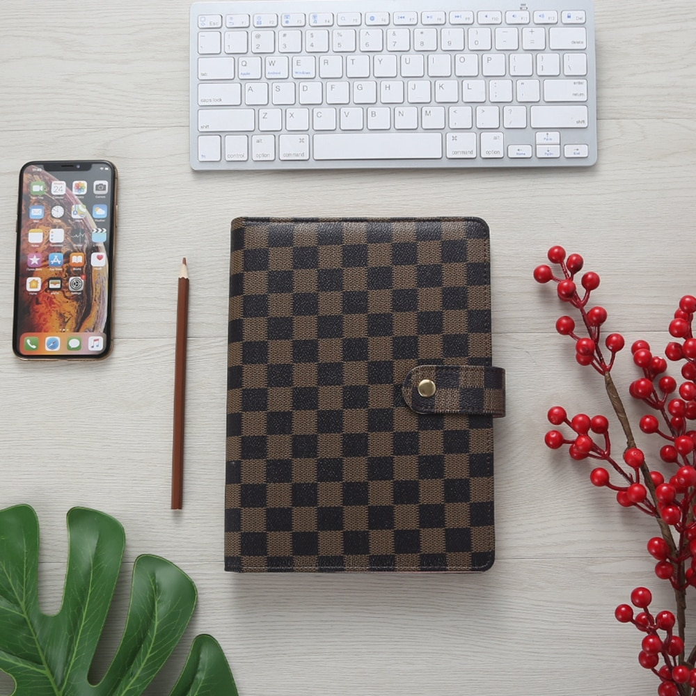 Luxury Loose-Leaf White Plaid Journal Checkboard Planner Cover A5 PU Leather Brown 6 Ring Binder Checkered Notebooks Planner