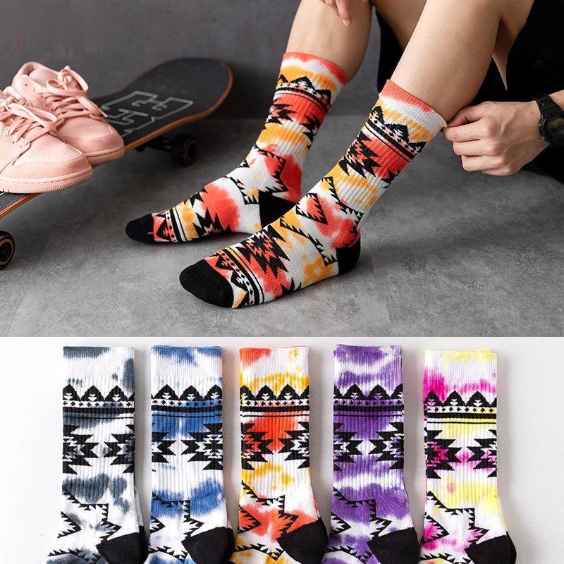 Tie-dye geometric trendy socks male skateboard half terry thick Harajuku street trend basketball socks cotton colorful stocking