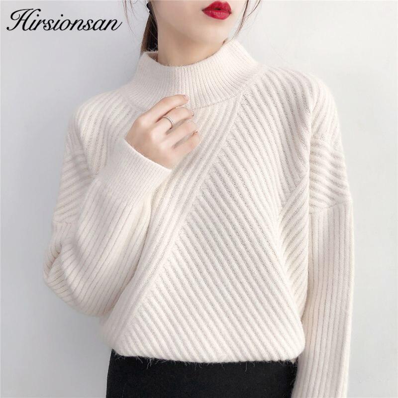 Hirsionsan tirar Femme 2019 tejido para Otoño Invierno de Cachemira jersey de coreana Casual básica sudaderas espesar cálido suéteres