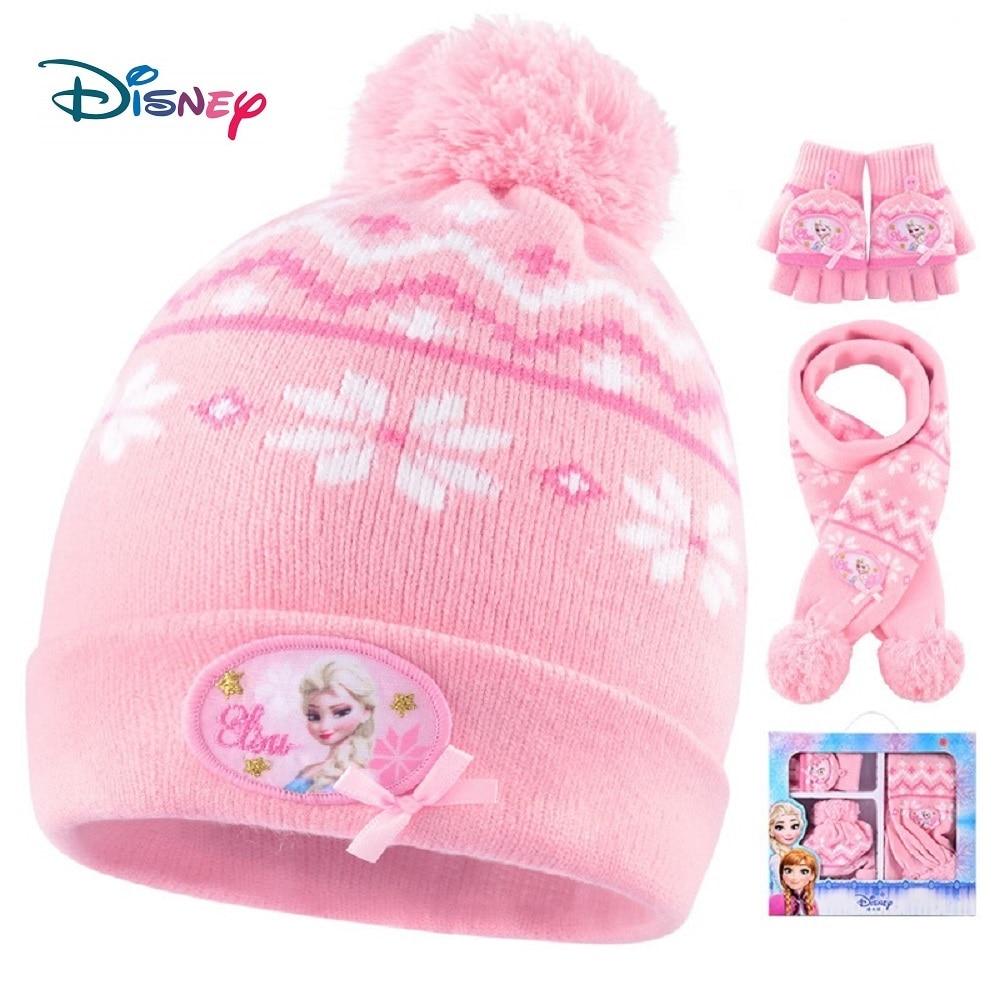 Disney congelé Mickey 3 en 1 bébé chapeau gants écharpe ensembles pour filles garçons chapeau dhiver bébé doux chaud chapeau casquette tricot bébé élastique écharpe