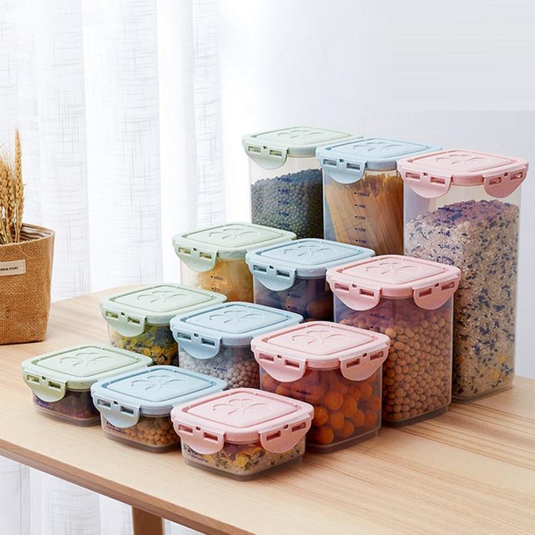 Latas selladas, caja de almacenamiento para comida y fideos, caja de almacenamiento de plástico en forma de grano con organizador a escala