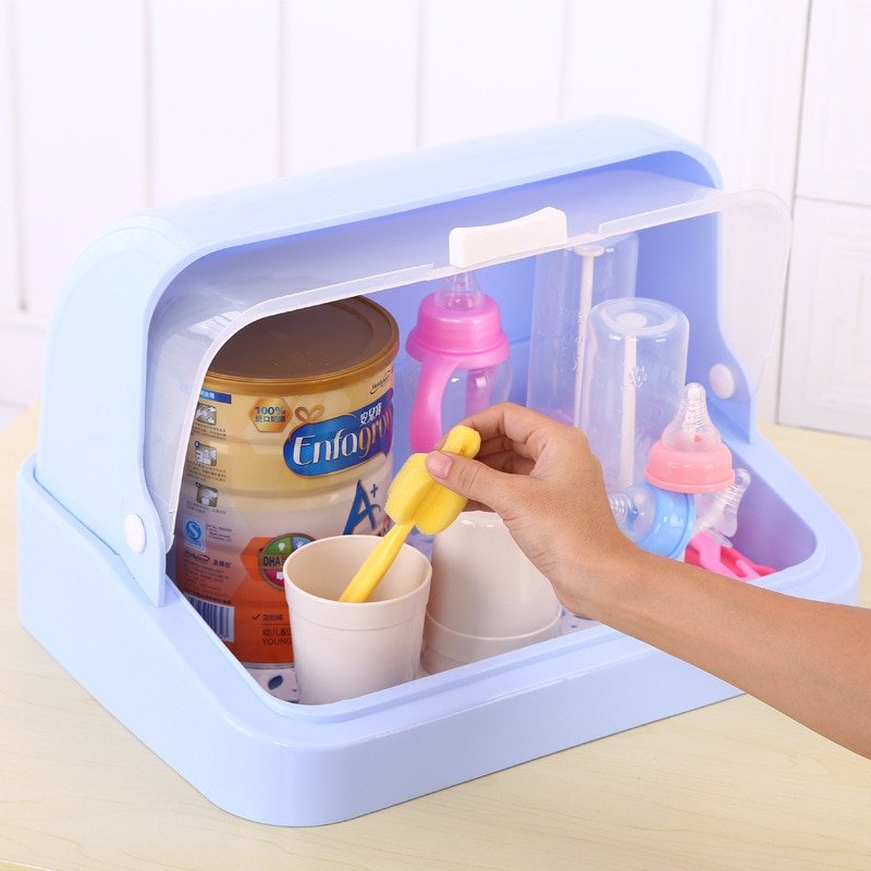 Estante de cocina de media vuelta para platos, estante para botellas de leche, portavasos, cubertería, caja de almacenamiento de polvo con tapa, portavasos