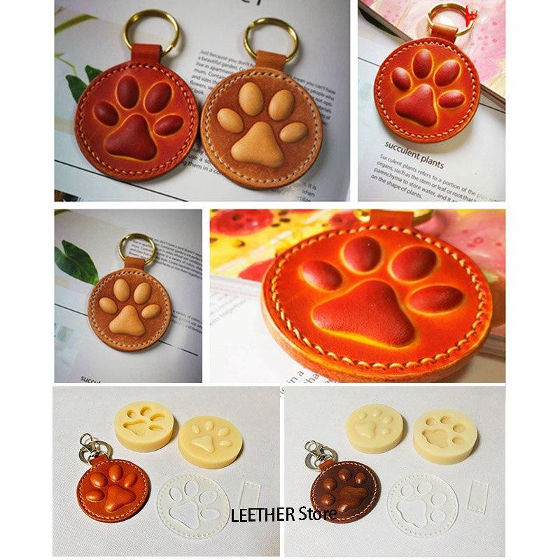 Leder Handwerk Hund Katze Pfote Schlüssel Ring DIY Gabe Dekoration Form Modellierung Kunststoff Form mit Stanzen Kunststoff Mould Set 60mm