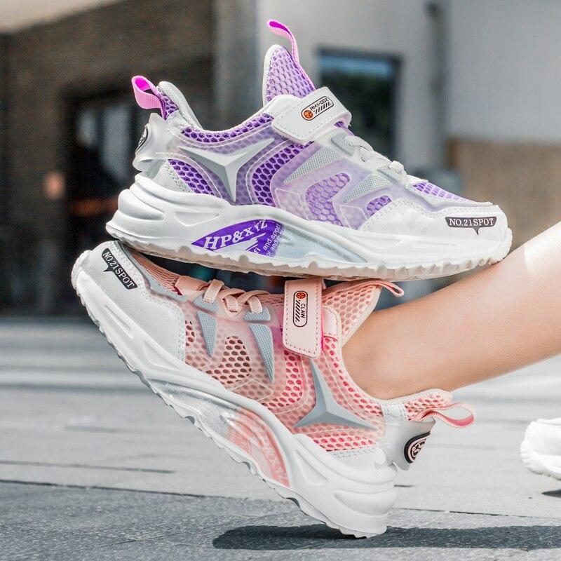 أطفال موضة حذاء رياضة بنات تنفس عادية تينيس الصيف أحذية رياضية في الهواء الطلق خفيفة الوزن 2021 للأطفال الصغار طفلة الأحذية
