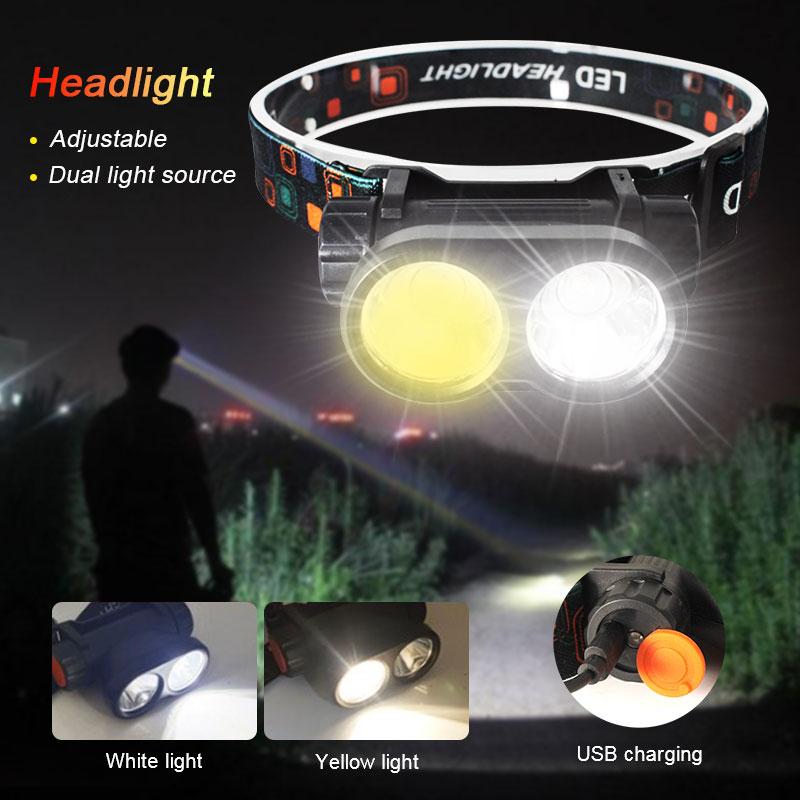 Dual Light Source Headlight White&Yellow Flashlight USB Rechargeable Headlamp Powerful Waterproof Night Fishing Head Front Light