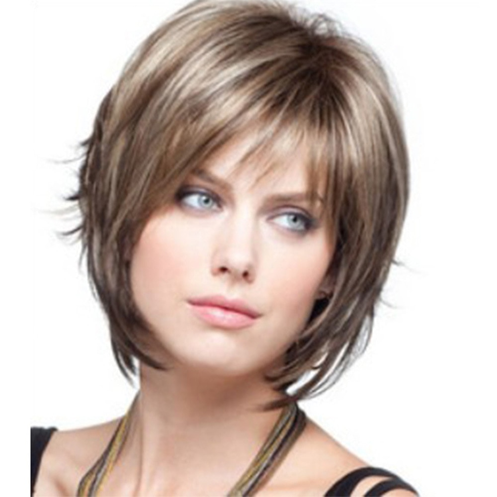 Short Wig for Women Straight Mixing Colour Hair Cosplay Daily Use Wig Heat Resistant Synthetic Costume Wigs