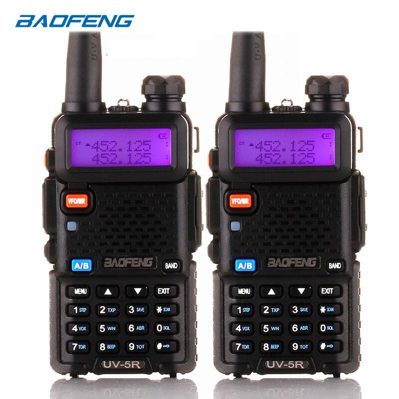 2 uds Baofeng UV 5R UV5R UV-5R Walkie Talkie UHF, VHF jamón CB Radio de dos vías de la estación Boafeng transceptor portátil 10 km Woki Toki
