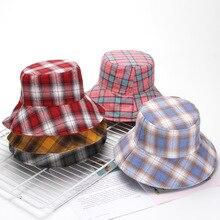 Summer girl casual cotton plaid bucket hat Women Solid Floppy large brim holiday fiserman hat Reversible Panama gorros