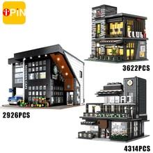 City Streetview Modern Coffee Shop Model Building Blocks Architecture Series Construction Set Moc Br